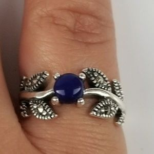 Sterling Silver 925 Blue Lapis Marcasite Ring